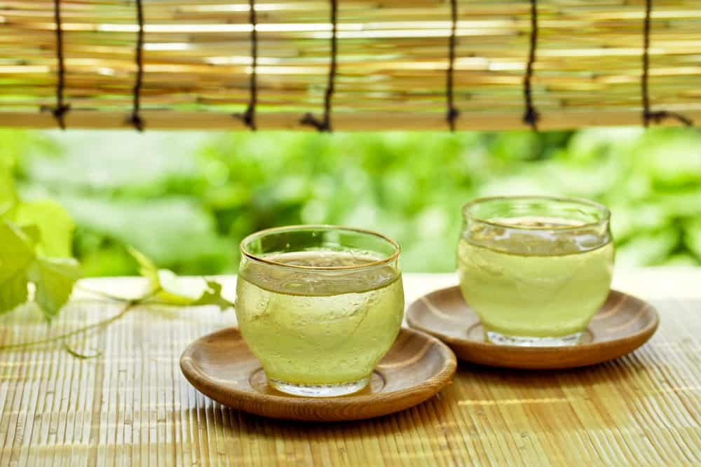 two cups of iced green tea