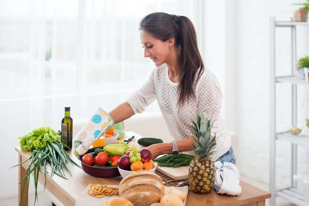 woman cooking a meal from scratch