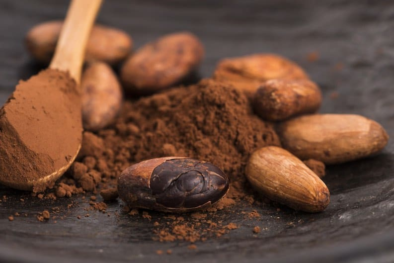 cacao beans and powder vegan stress relief