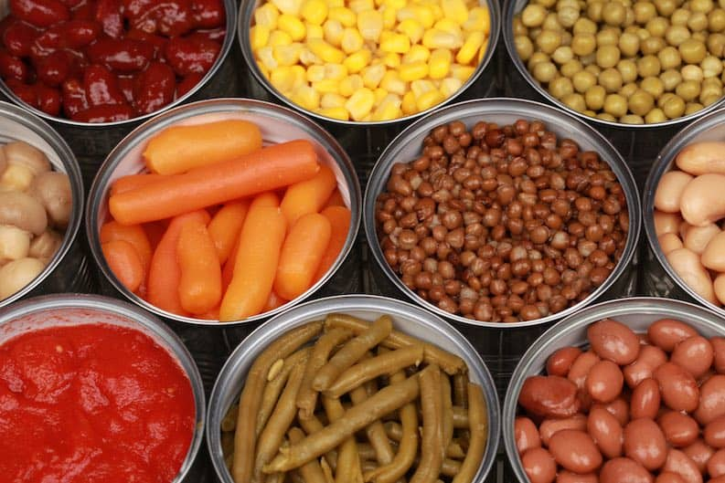 assorted canned vegetables