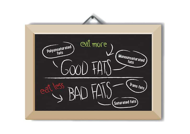 board showing good fats and bad fats