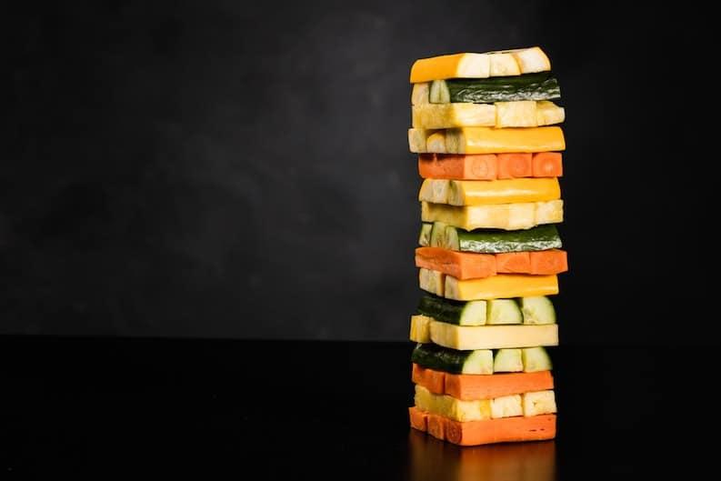 jenga tower vegan balanced diet