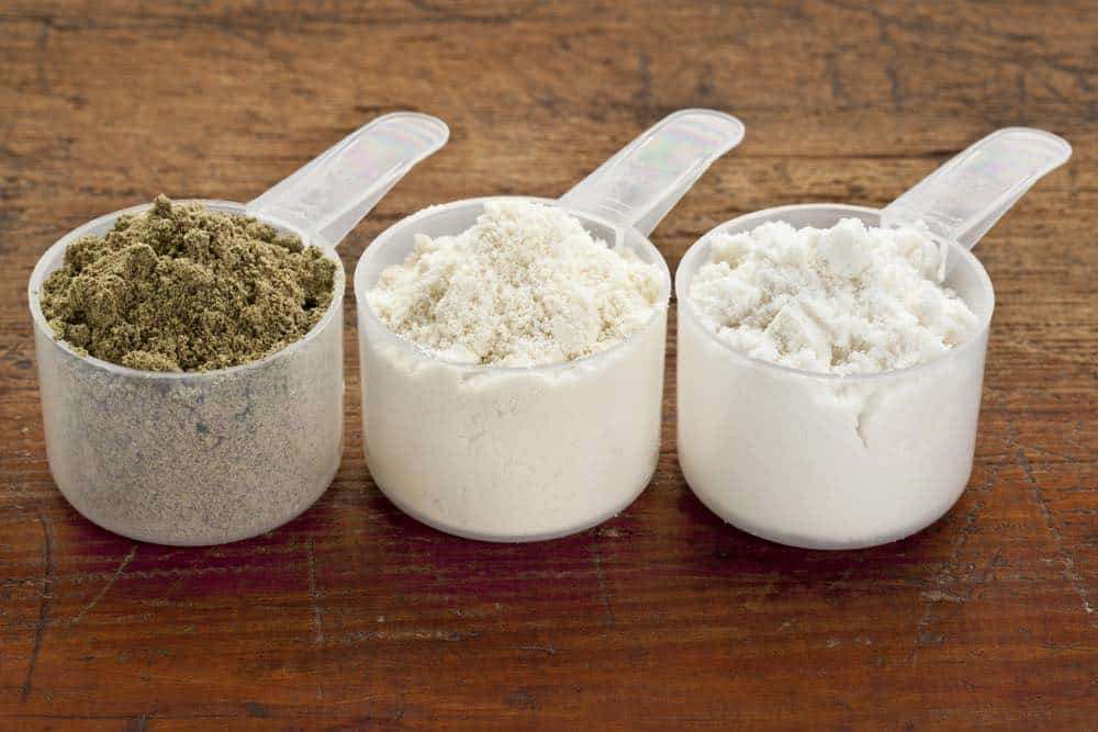 selection of different protein powders
