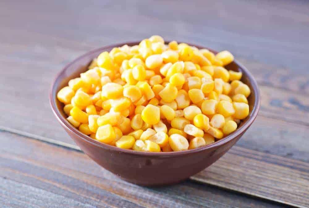 bowl of tinned corn