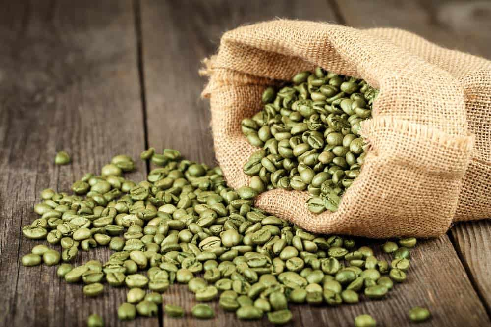 bag of green coffee beans