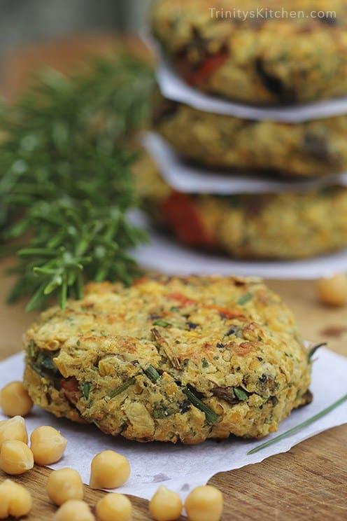 Chickpea and mushroom burger vegan