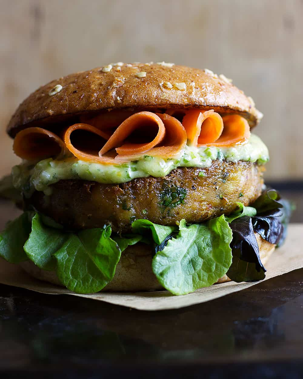 Spicy chickpea plant-based burger