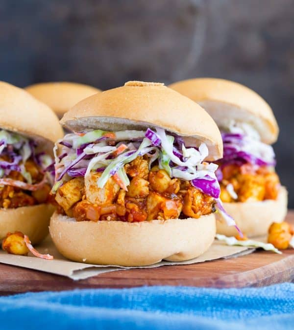Tofu sandwiches with BBQ sauce and chickpeas