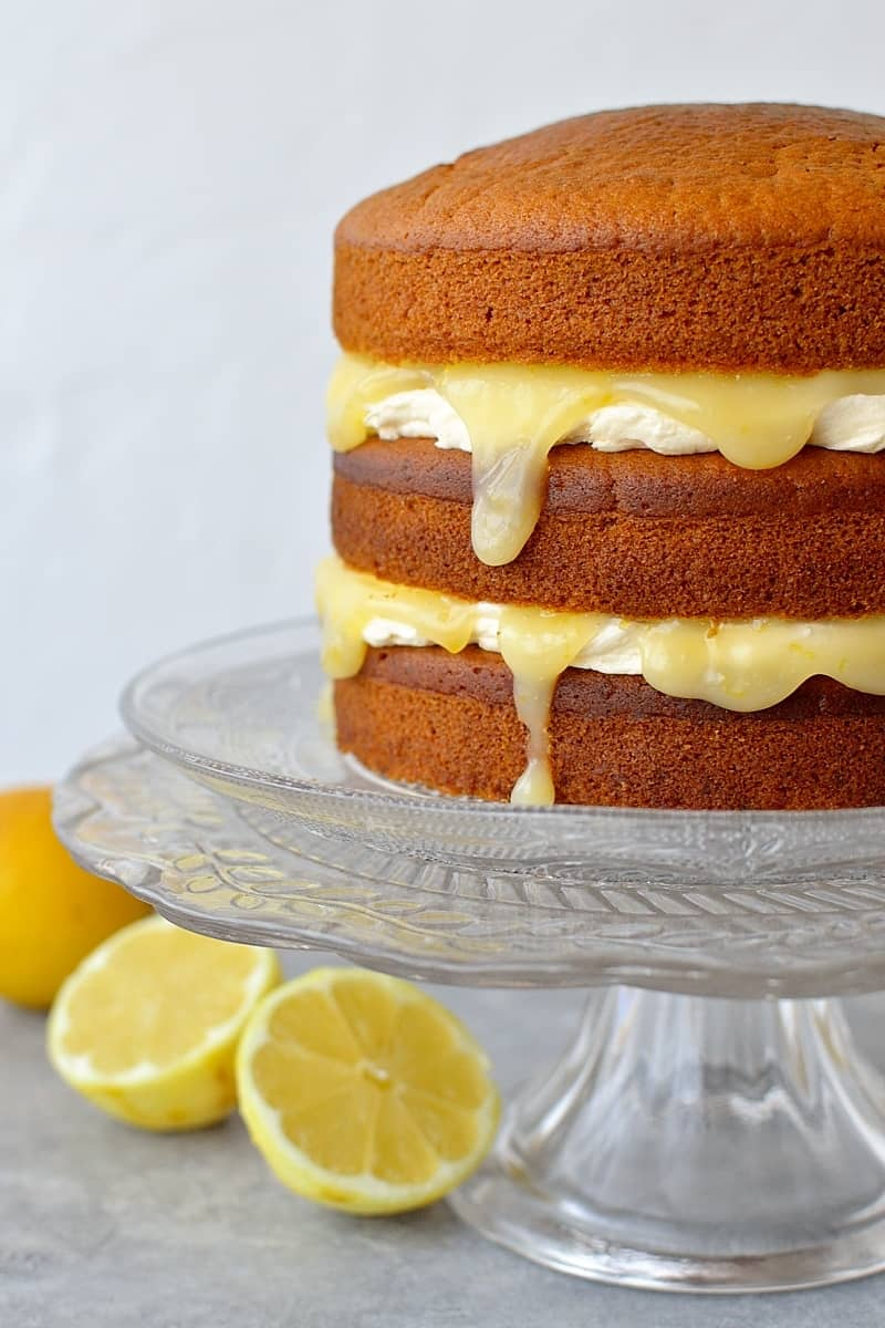 Lemon curd layer cake vegan