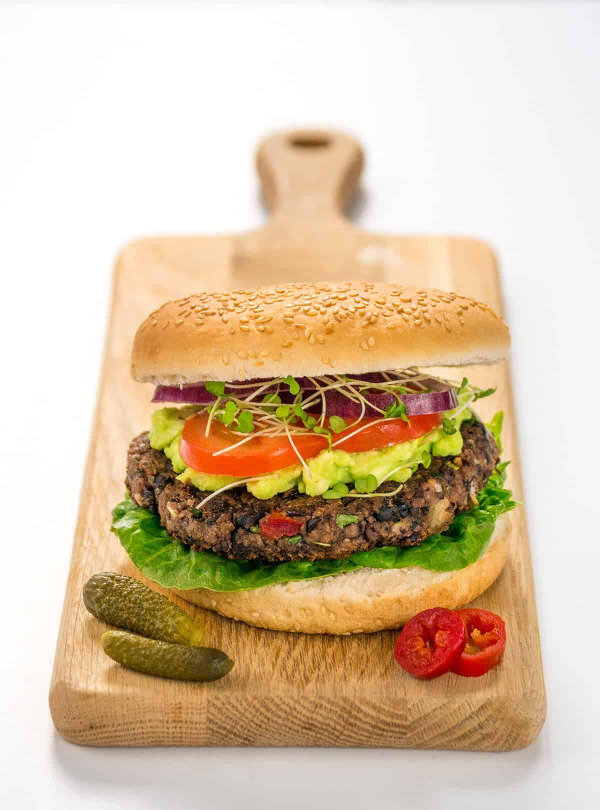 BBQ black bean burger with jalapeno