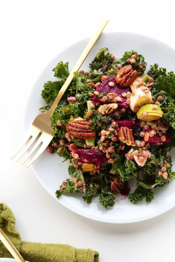 Minimalist Baker's kale, beet, pecan, and leek salad