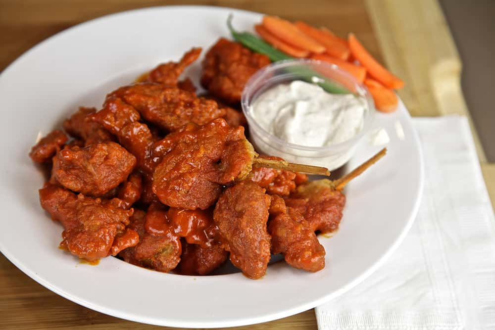 vegan buffalo wings with seitan