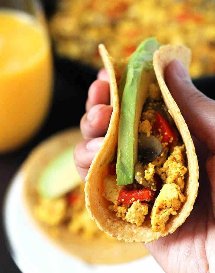 Tofu scramble tacos
