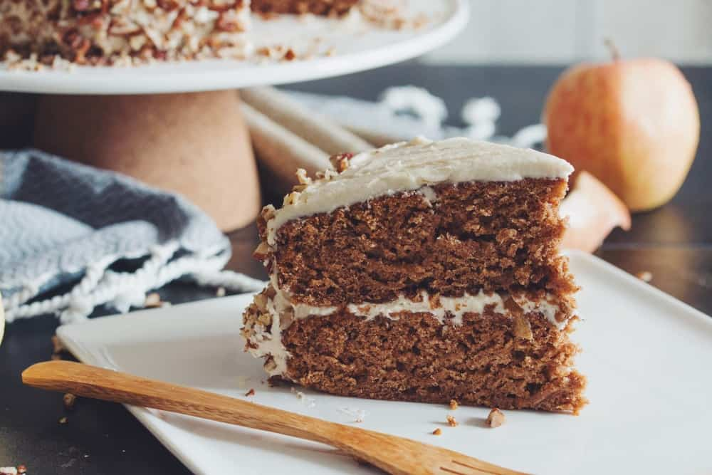 Apple spiced cake with vegan maple buttercream