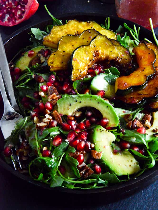Autumn Arugula Salad With Caramelized Squash And Pomegranate Ginger Vinaigrette - easy vegan lunch ideas