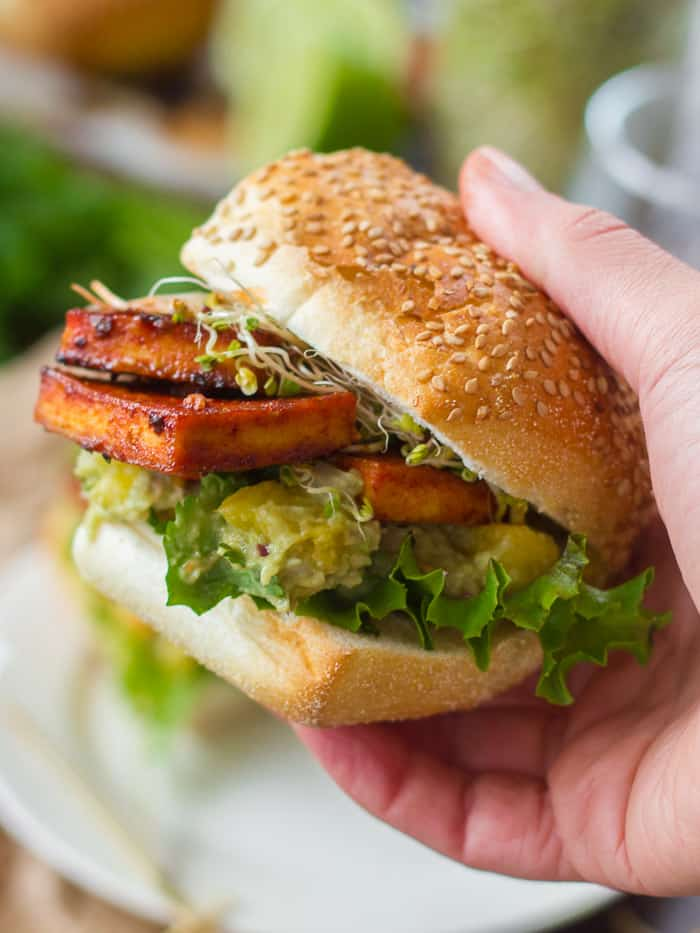 best vegetarian sandwiches - Chipotle-Baked Tofu with Pineapple Guacamole