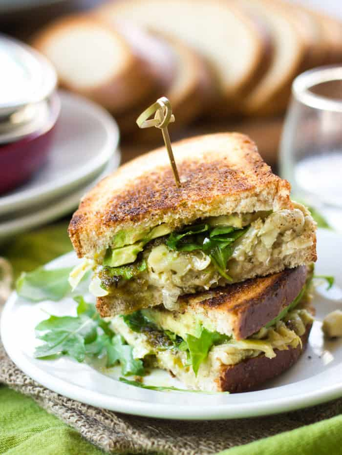 vegetarian sandwich fillings - Peppery arugula meets pesto, avocadoes, and mashed cannellini beans