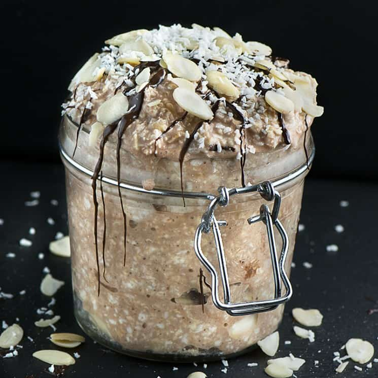 Chocolate and coconut overnight oats vegan