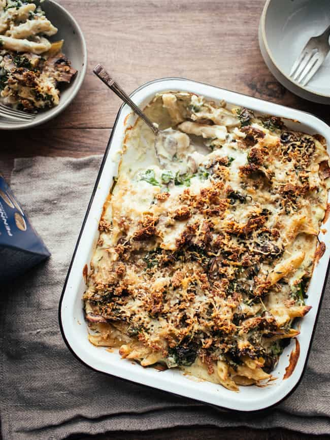 Creamy plant-based mushroom and cauliflower pasta bake vegan