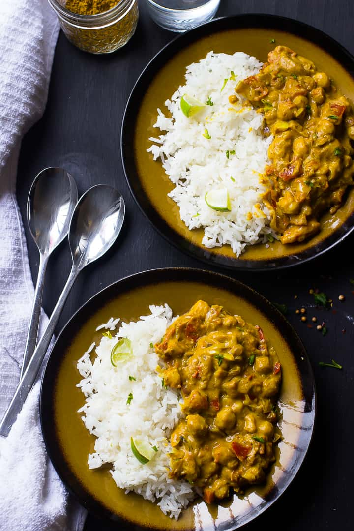 Vegan coconut and chickpea curry