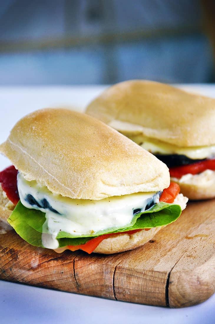 Grilled aubergine sandwich