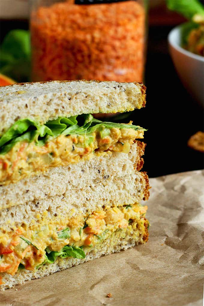 vegan sandwich ideas - lentil chickpea salad