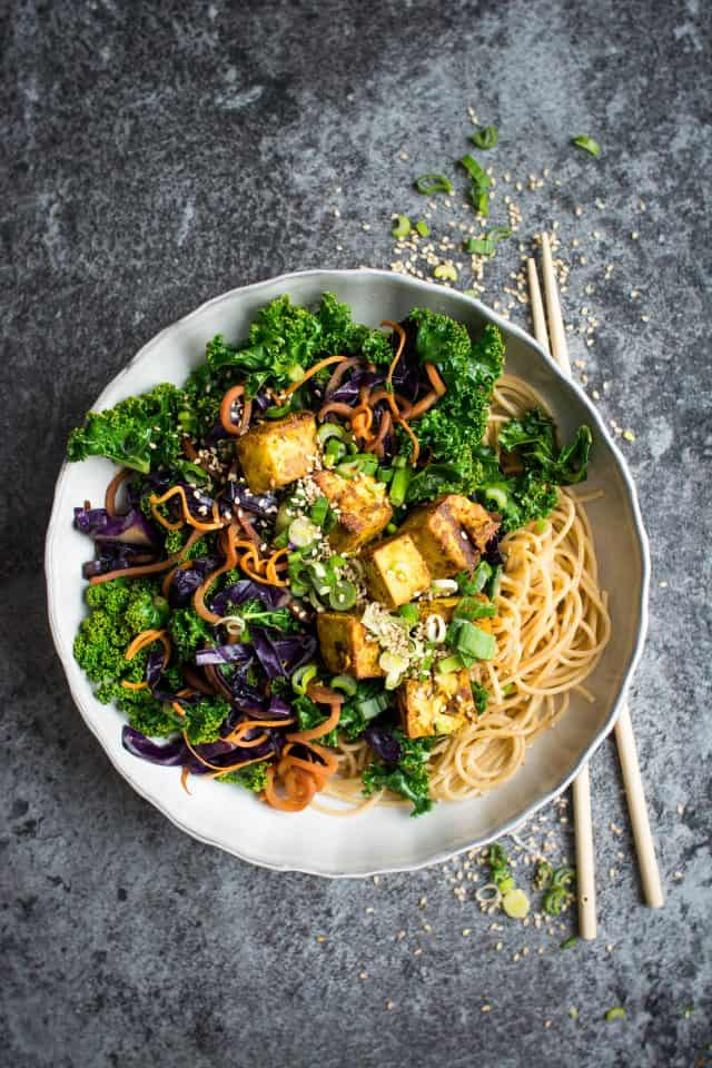 Easy curried tofu stir-fry with kale