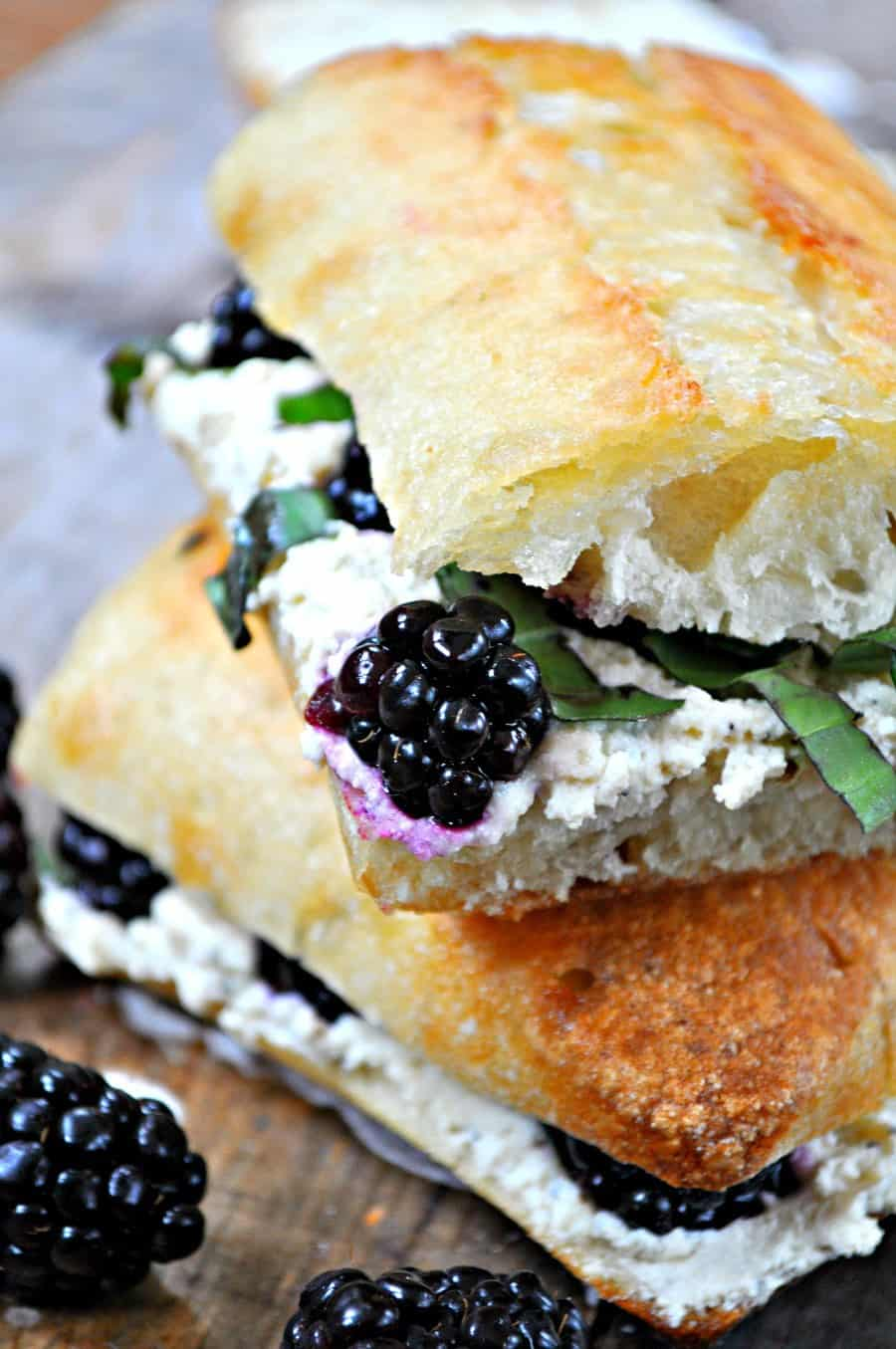 Vegan Blackberry Basil Ricotta Pressed Sandwich