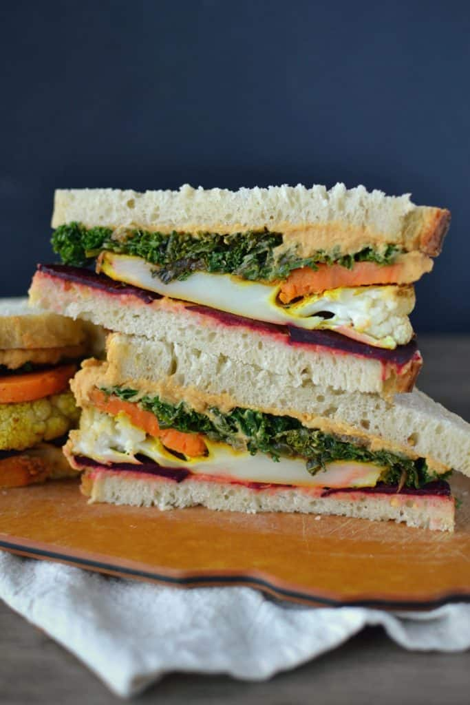 Winter vegan club sandwich