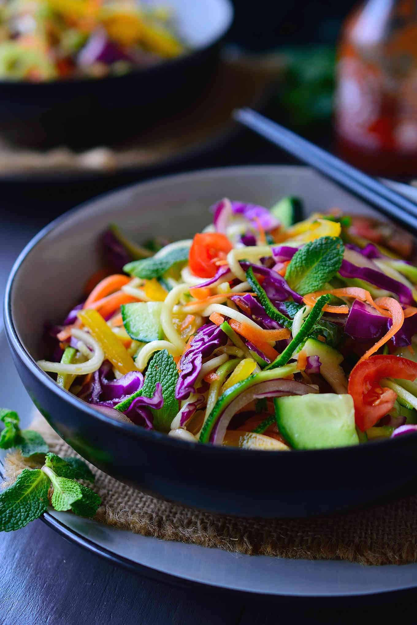 Raw veggie noodles for an easy vegan lunch