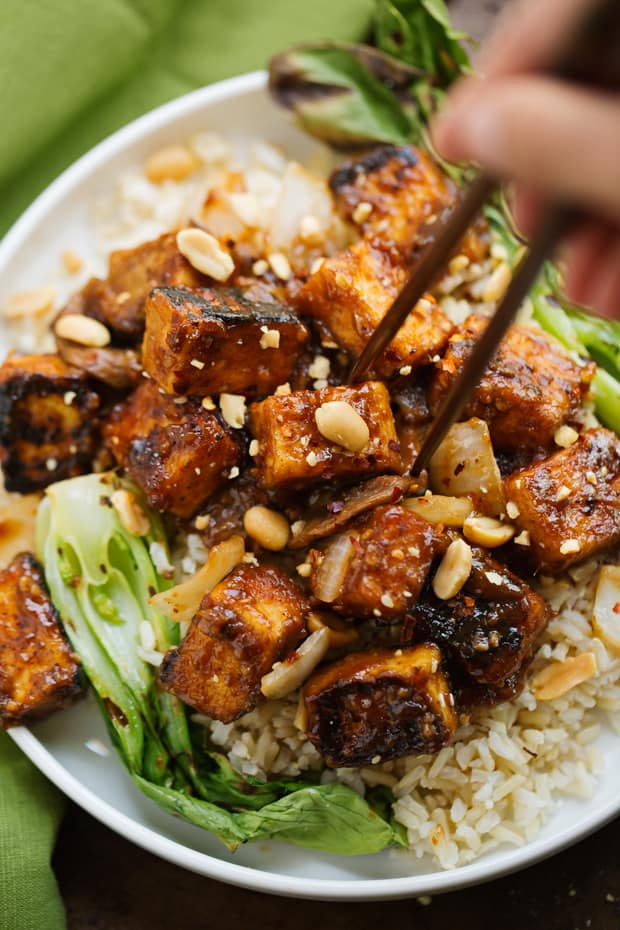 Hot and spicy peanut tofu stir-fry