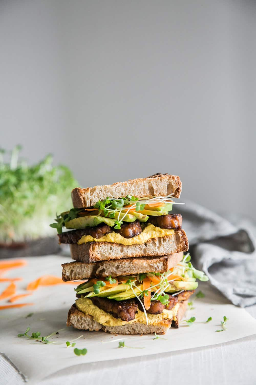 Sweet Spicy Tempeh Sandwich with Carrot Aioli