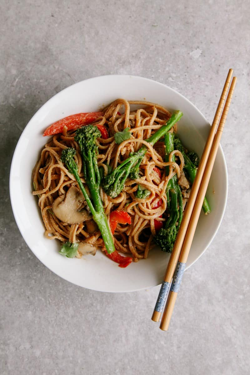 Tenderstem broccoli and noodles