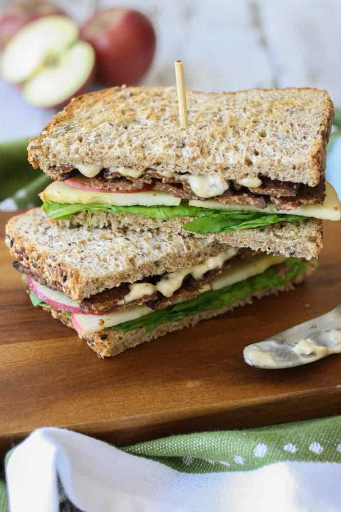 Smoky Tempeh Apple and Arugula vegan sandwich ideas
