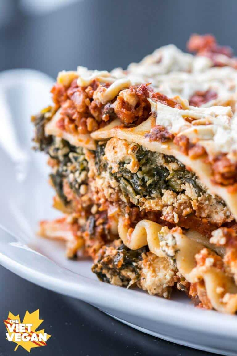 Vegan lasagna with tofu, spinach, and dairy-free ricotta