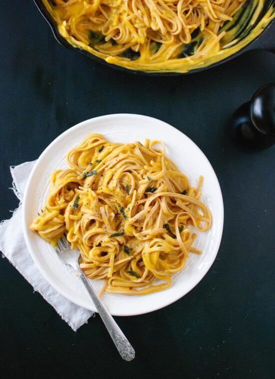 Dairy-free linguine recipe with butternut squash
