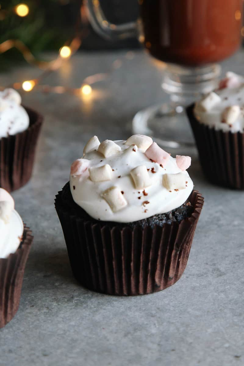 Hot chocolate cupcakes with vegan frosting