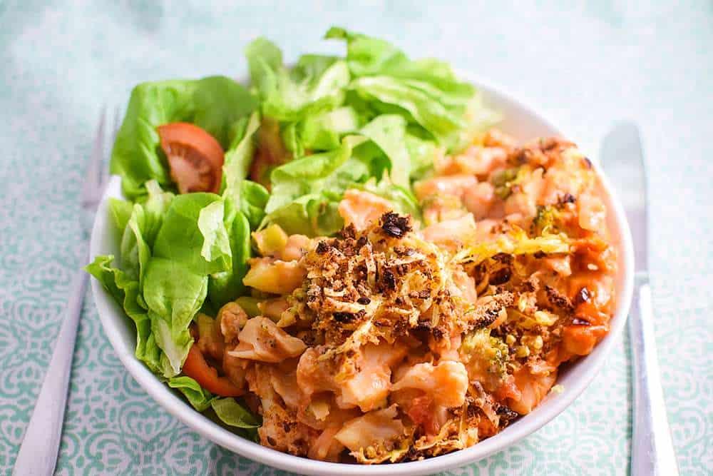 Healthy chickpea and cauliflower vegan casserole