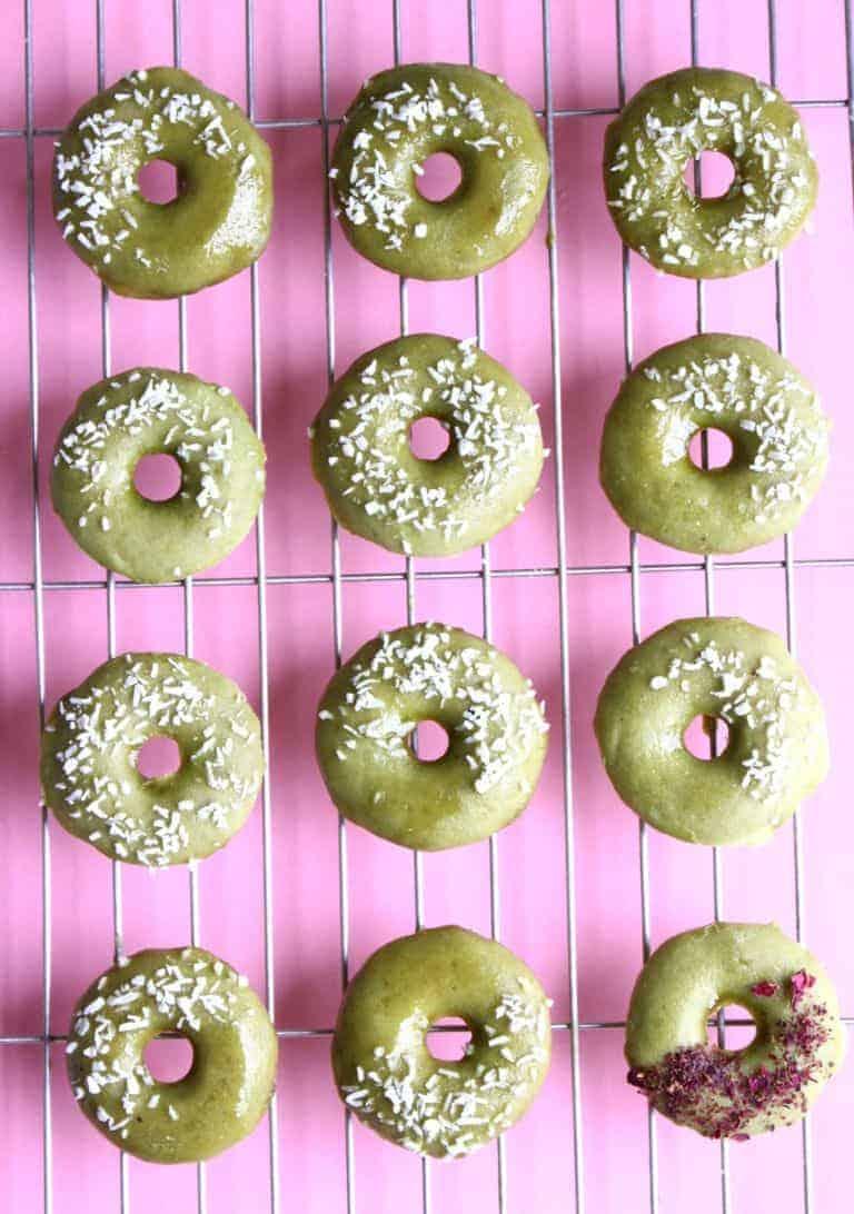 Plant-based Matcha doughnuts