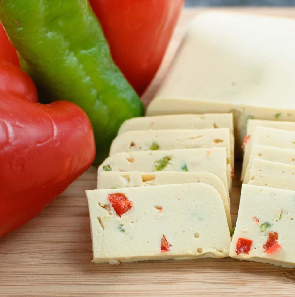 Plant-based pepperjack cheese