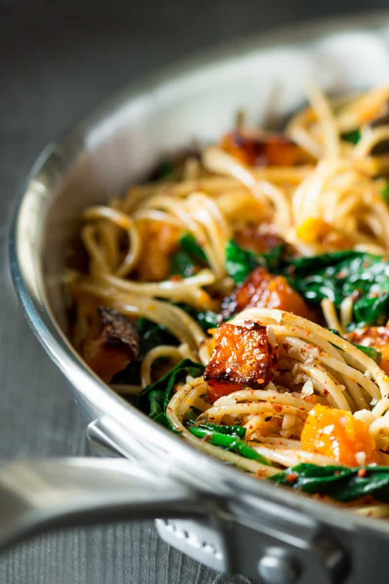 Spinach, walnut, and pumpkin pasta