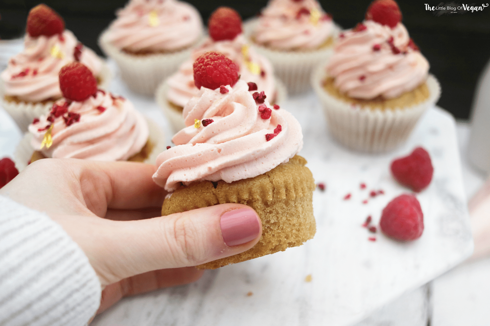 Egg free vanilla cupcakes with raspberry compote