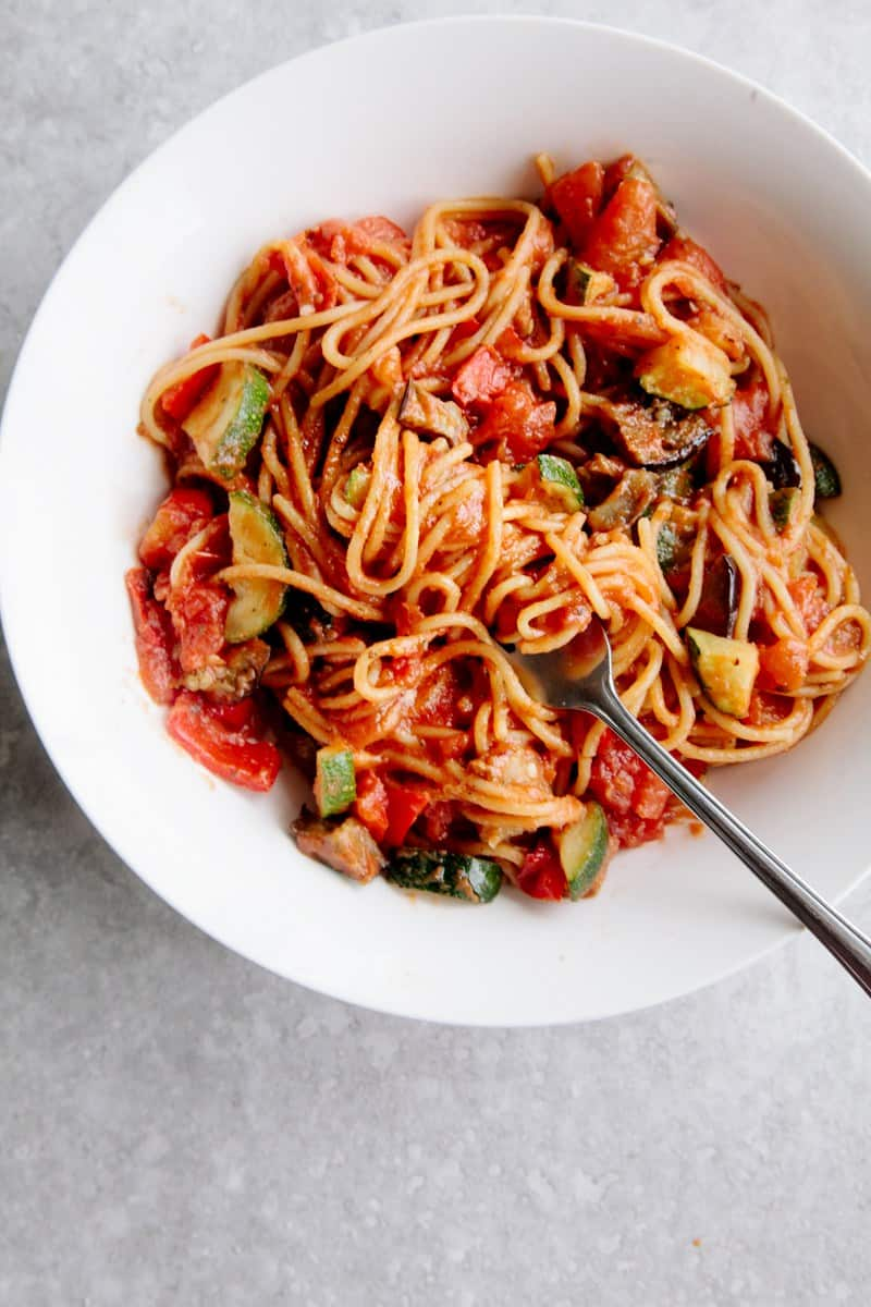 Vegetarian spaghetti recipe - vegan ratatouille