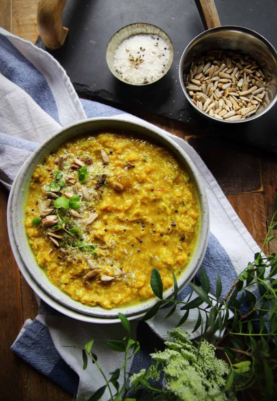 Red lentil coconut dahl