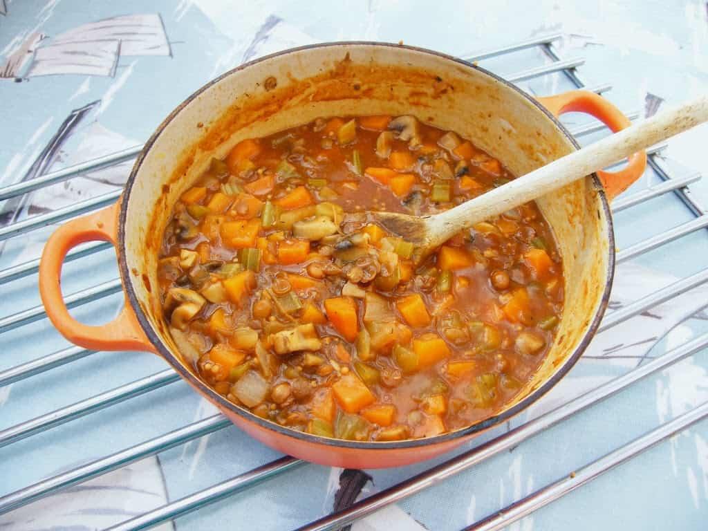 Traditional lentil stew for vegans