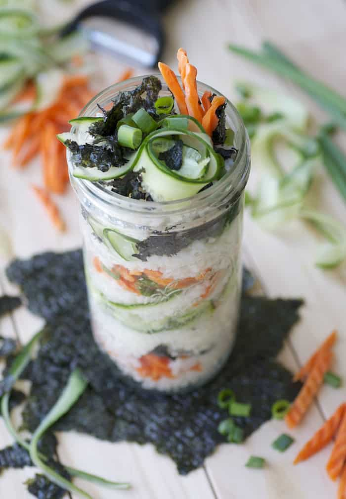 Vegan packed lunch ideas - sushi jars