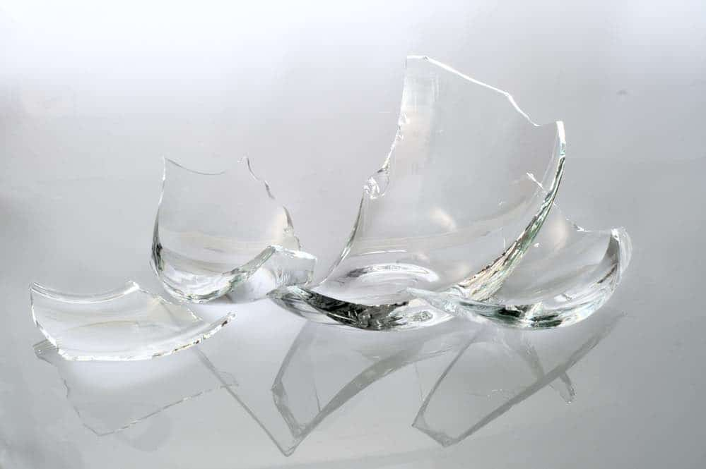 Shards of broken glass jar