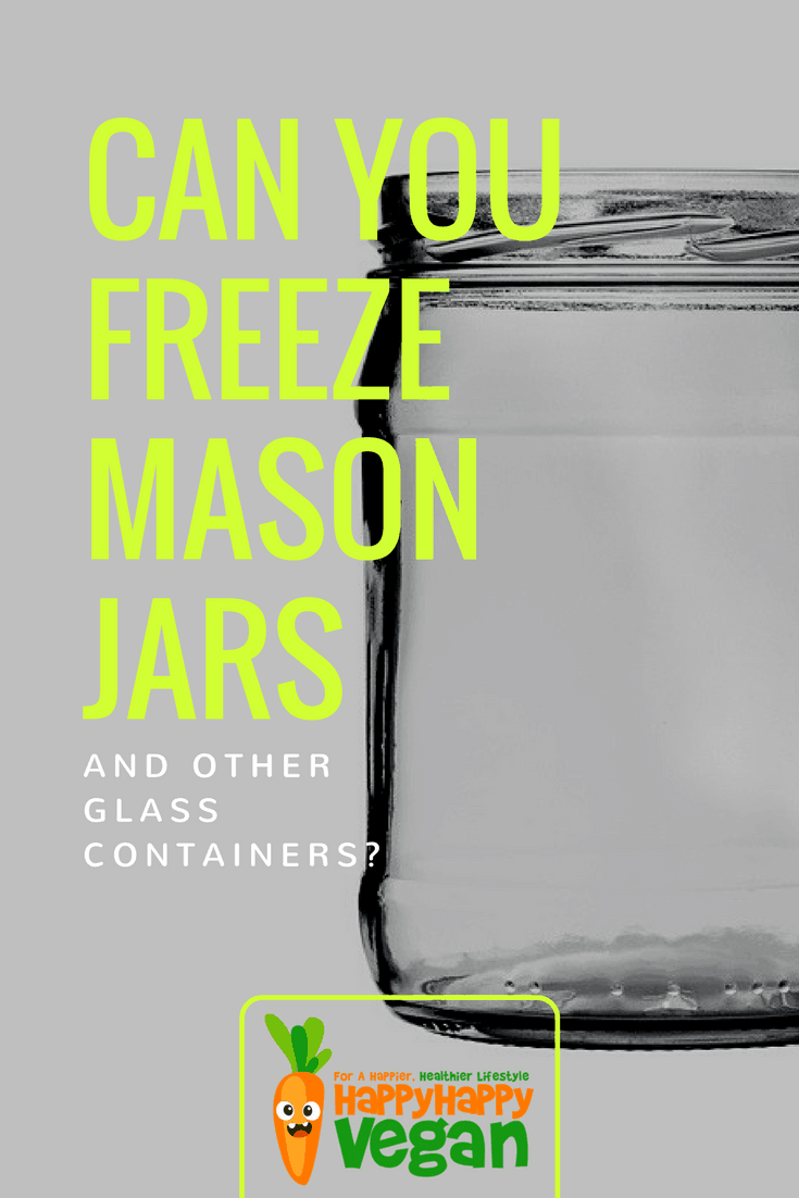 A single, empty glass Mason jar with a transparent overlay and text that reads: Can you freeze Mason jars and other glass containers?