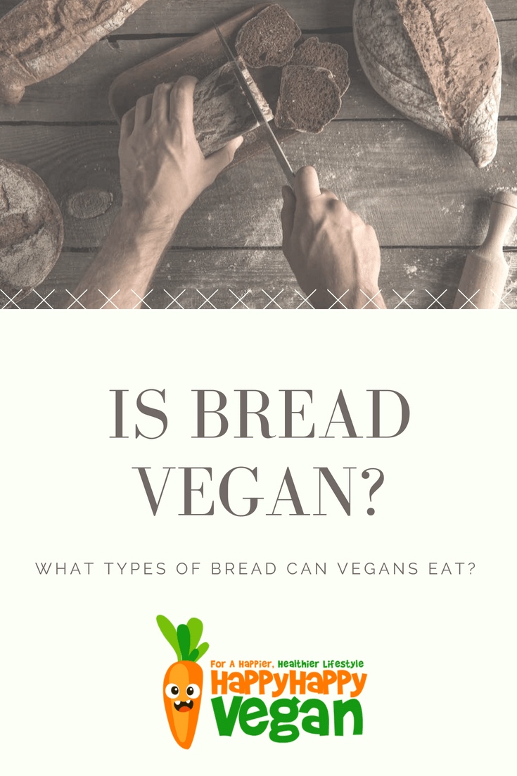 "is bread vegan pin for pinterest including an image of a man cutting bread and the text ""what bread can vegans eat?"""