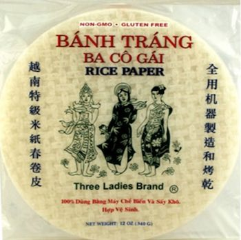 pack of rice paper for wrapping vegan spring rolls